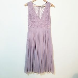 Asos Low Neck Lace Pleated Lilac Dress Size 12